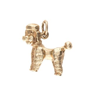 Lively 10K Yellow Gold Solid Poodle Charm/Pendant