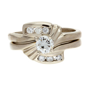 14K White Gold .58TDW 2 Ring Wedding Set