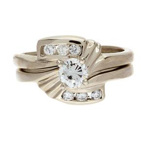 14K White Gold .58TDW 2 Ring Wedding Set
