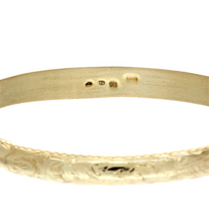 14K Yellow Gold 8.5″ Floral Engraved Bangle