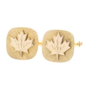 Dashing 14K Yellow Gold Maple Leaf Textured Cufflinks