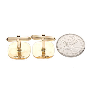 Dashing 14K Yellow Gold Maple Leaf Textured Cufflinks