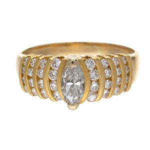 18K Yellow Gold .38CT Marquise Diamond Engagement Ring