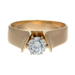14K Yellow & White Gold .60CT Diamond Solitaire Engagement Ring
