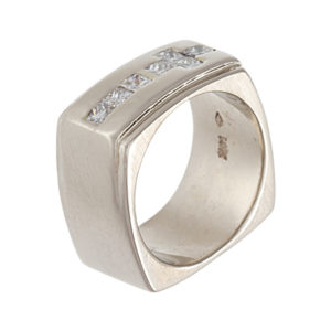 Bold 14K White Gold Custom Made 10mm Square Shape 7 Diamond Ring