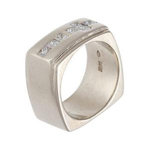 Bold 14K White Gold Custom Made 10mm Square Shape 7 Diamond Ring