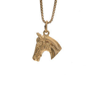 10K Yellow Gold 15mm Horse Head Charm/Pendant