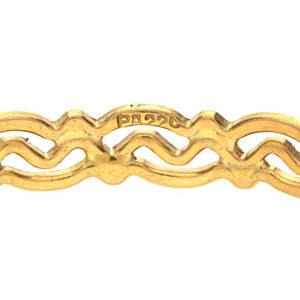 Shimmering 22K Yellow Gold Swirl Diamond Cut Bangle