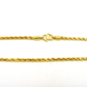 Stylish 22K Yellow Gold 17.5″ Solid Rope Link Chain