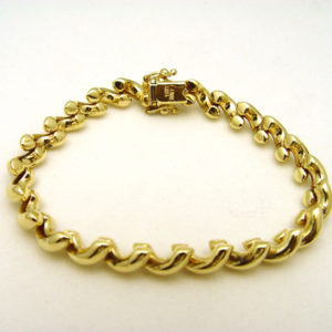 14K Yellow Gold 7″ Half Hoop Hollow Link Bracelet