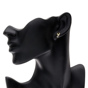 Pair of 14K Two Tone Gold Arrow & Circle Dangle Stud Earrings