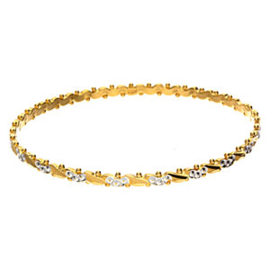22K Yellow Gold & White Gold Accented Diamond Cut Bangle