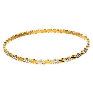 22K Yellow Gold & White Gold Accented Diamond Cut Bangle