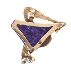 Stunning Abstract 10K Yellow Gold Charoite 3 Diamond Pendant