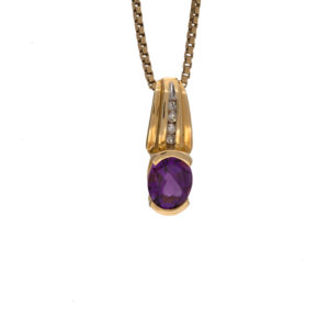 14K Yellow Gold Semi Bezel Set Oval Amethyst Pendant w/ Diamonds