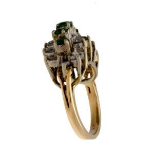 Stunning 14K Yellow & White Gold Staircase Ring w/ Emeralds & Diamonds
