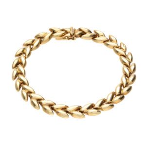 14K Yellow Gold 7.75″ Hollow Leaf Link Bracelet