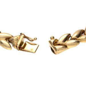 14K Yellow Gold 7.75″ Hollow Leaf Link Bracelet