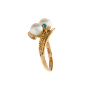 14K Yellow Gold 2 Pearl 2 Turquoise Offset Ring
