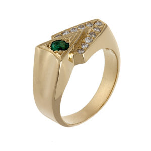 14K Yellow Gold 11 Diamonds & 1 Emerald Triangular Design Ring