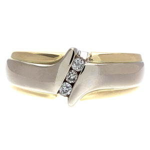 14K Yellow & White Gold Diagonal 3 Channel Set Diamond Ring