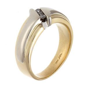 14K Yellow & White Gold Diagonal 3 Channel Set Diamond Ring