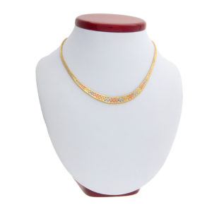 14K Tri-Gold 16.75″ Braided Link Necklace
