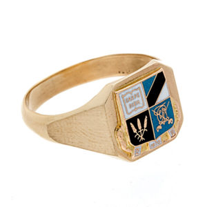 "BIRKS 10K Yellow Gold ""Carpe Diem"" Coat of Arms Signet Ring"