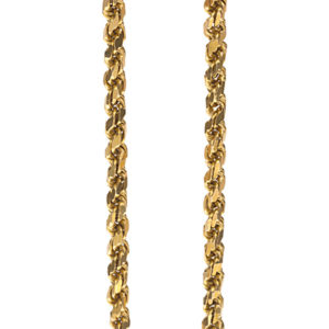 22K Yellow Gold 17″ Diamond Cut Solid Rope Link Chain