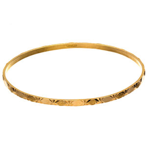 21K Yellow Gold Diamond Cut Textured Pattern Bangle