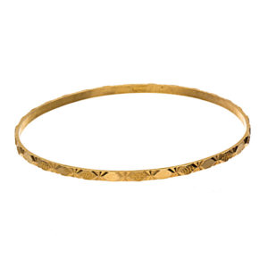 21K Yellow Gold Textured Diamond Cut Bangle