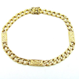 Heavy 18K Yellow Gold 9″ Textured Panel & Curb Link Bracelet