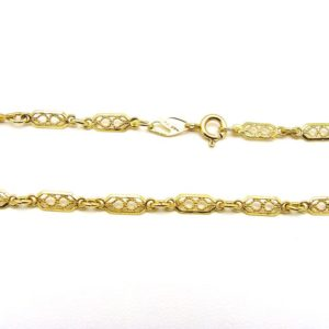 18K Yellow Gold 17.75″ Fancy Open Filigree Style Link Chain