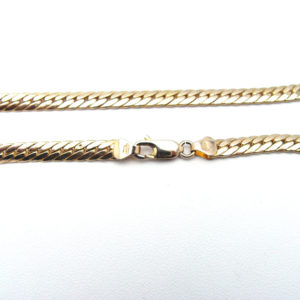 14K Yellow Gold 16″ Puffed Hollow Herringbone Link Chain