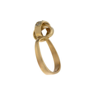 Birks 18K Yellow Gold 5 Diamond Fancy Knot Ring