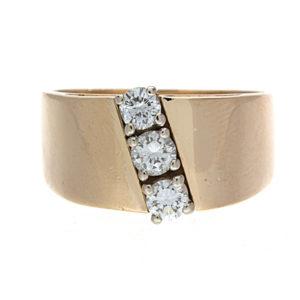 Gorgeous 14K Yellow & White Gold .50TDW 3 Diamond Ring