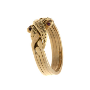 14K Yellow Gold 4 Piece Double Snake Puzzle Ring w/ Ruby Eyes