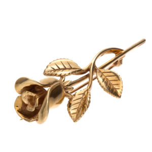 Beautiful 10K Yellow Gold 1.85″ Detailed Rose Brooch