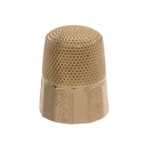 Lovely 14K Yellow Gold Floral Engraved Sewing Thimble