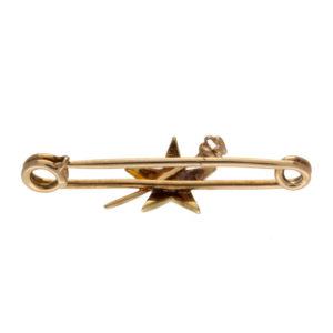 Antique 14K Yellow Gold 1 Old Mine Cut Diamond & Seed Pearl Star Pin