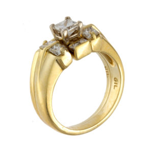 18K Yellow Gold .90TDW 9 Square Brilliant Cut Diamond Wedding Set