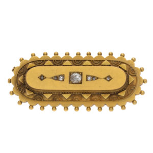 Antique 15K Yellow Gold Mourning Pin w/ 5 Diamonds
