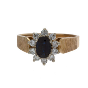 Lovely 14K Yellow Gold Sapphire & Diamond Cluster Ring