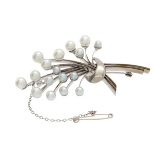 Birks 14K White Gold 17 Cultured Pearl Brooch