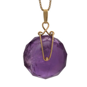 14K Yellow Gold 25mm Facetted Amethyst Wheel Pendant