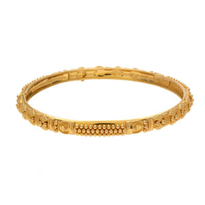 22K Yellow Gold Ornate Bead & Diamond Cut Bangle