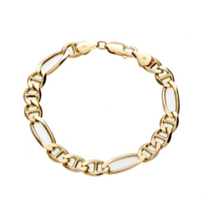 Stylish 14K Yellow Gold 8.25″ Stylized Figaro Link Bracelet