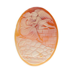Loose Antique 55mm Oval Shell Cameo of Elegant Woman & Angel