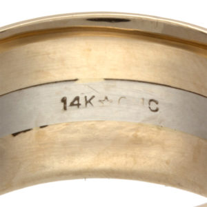 Bold Three Band 14K Yellow & White Gold Band