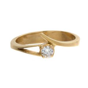Stylized 14K Yellow Gold .15CT Diamond Solitaire Diamond Ring